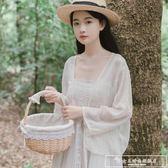 海邊裙雪紡短款小外披防曬衣沙灘開衫女夏季仙女外套外搭披肩罩衫『韓女王』