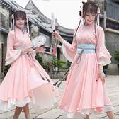 改良式漢服 改良漢服女繡花古風交領洋裝中國風民族風淡雅日常古裝仙女套裝 ZJ4780【Sweet家居】