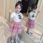 女童兩件式洋裝 2019夏季新款休閒兩件套連衣裙洋氣時髦短袖套裙兩件套洋裝 aj3404『易購3c館』