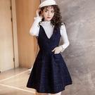 小香風金蔥毛呢藏藍V領背心裙洋裝[98931-QF背心裙]小三衣藏
