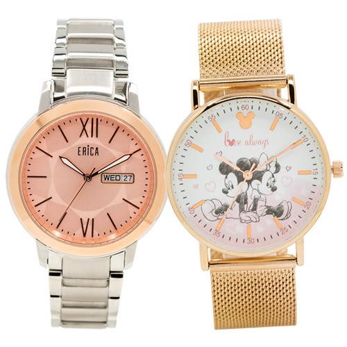 ERICA 艾瑞卡 X Disney 迪士尼 典雅時尚卡通對錶 ER-17-GLP+米奇米妮 原廠公司貨 熱賣中!