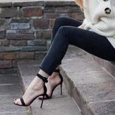 夏季高跟鞋露趾一字帶涼鞋 E家人