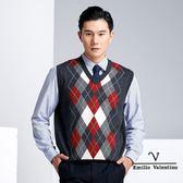 【Emilio Valentino】學院風時尚羊毛休閒背心 - 灰/紅