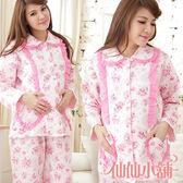 仙仙小舖 UE12129粉 居家孕婦哺乳衣套裝 月子服 孕婦裝 睡袍 居家睡衣