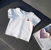 七夕全館85折 學院風櫻桃T女寶寶白色娃娃領上衣嬰兒短袖