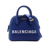 【台中米蘭站】展示品 BALENCIAGA VILLE 粒面小牛皮兩用包-mini (寶藍)