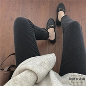 緊身牛仔褲女大碼九分煙灰色秋冬季高腰顯瘦【時尚大衣櫥】