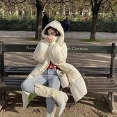 羽絨夾克-白鴨絨-連帽蓬鬆過膝長款女外套3色73zc14【時尚巴黎】