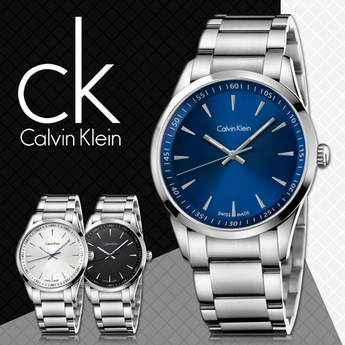 CK手錶專賣店 K5A3114N 藍 男錶 大錶徑 石英  弧形強化玻璃鏡面 不鏽鋼錶殼錶帶