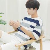夏季新日系男士短袖t恤圓領條紋體恤寬鬆打底衫半袖男裝2019衣服