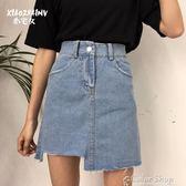 牛仔半身裙女夏裝新款韓版高腰不規則chic韓風裙子A字短裙color shop