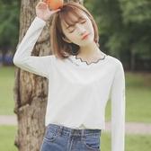 新款春秋韓版字母打底衫女學生bf上衣長袖ins白色T恤潮 韓國時尚週