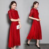 假兩件洋裝 中式復古蕾絲改良旗袍裙禮服中長款長裙拼接假兩件連身裙 優帛良衣