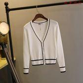 針織衫學院風V領黑白條紋開衫毛衣外套 衣普菈
