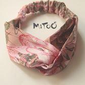 蜜桃。原創設計印花緞面韓式交叉彈力發帶新粉色發箍發飾頭箍吾本良品