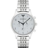 Emporio Armani 亞曼尼 Classic 紳士復刻經典計時手錶-灰x銀/43mm AR1879