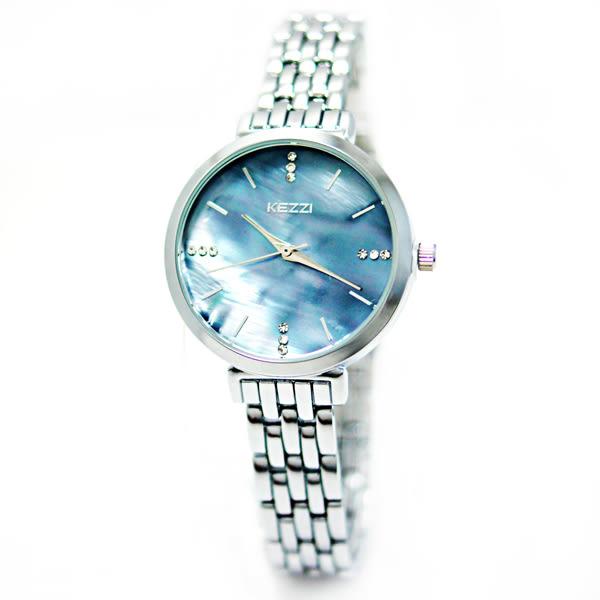 KEZZI 珂紫 KW-1447-S 簡約典雅復古手鍊水鑽金屬錶 - 銀框藍貝