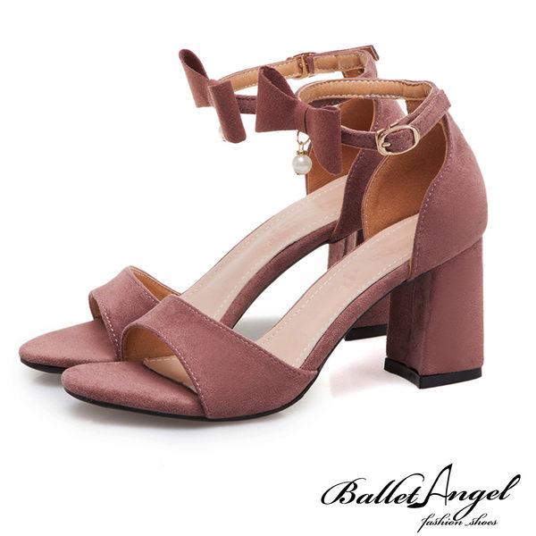 涼鞋 一字繫踝2way蝴蝶結粗跟涼鞋(芋粉)*BalletAngel【18-719pk】【現貨】