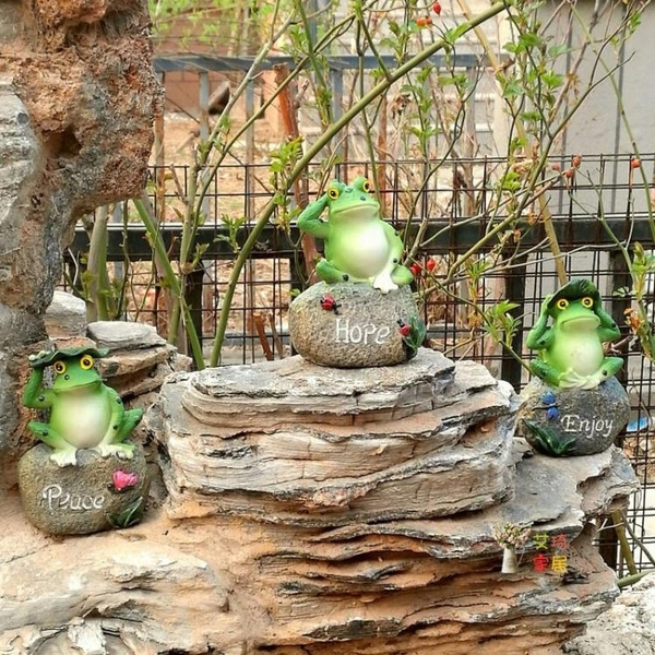 青蛙擺件 仿真青蛙擺件戶外花園盆景水池噴泉造景樹脂三件套園藝裝飾工藝品