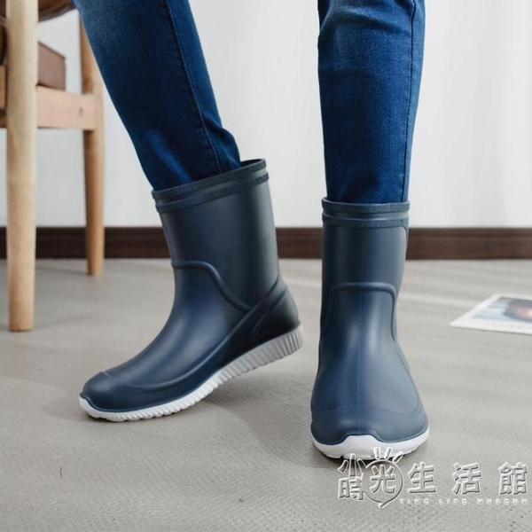 雨鞋男膠鞋中筒防滑防水雨靴水鞋套鞋釣魚鞋洗車工作鞋男膠鞋 小時光生活館