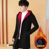 男士外套冬季 新款韓版潮流修身衣服 帥氣中長款風衣 男款加絨加厚休閑夾克 休閒男士外套