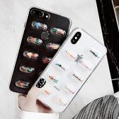 IPhone 8 Plus 可愛手機殼 透明手機套 創意藥丸小人滴膠保護殼 手機軟殼 卡通保護套 透明殼 i8
