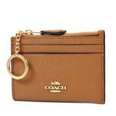 美國正品 COACH 金字防刮皮革證件鑰匙零錢包-棕色【現貨】