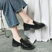 韓版夏季新款復古chic小皮鞋女鞋英倫ins單鞋粗跟漆皮單鞋 全店免運