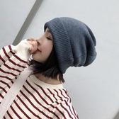 帽子女冬天大頭圍韓版百搭加厚保暖針織毛線帽秋季孕婦產后月子帽 【快速出貨】
