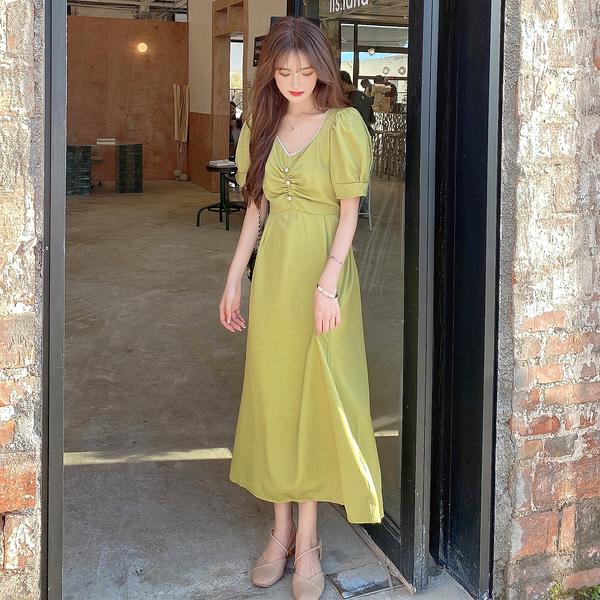 洋裝連身裙 大碼洋裝 夏季新款韓版雪紡印花寬松減齡短袖連身裙 9822 3F070-B 韓依紡