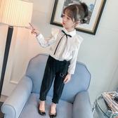 女童襯衫2019新款韓版兒童上衣長袖花邊百搭童裝中小童純棉春裝