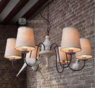 美術燈 創意美式鄉村複古客廳餐廳燈具咖啡廳(三小鳥六頭吊燈) -不含光源