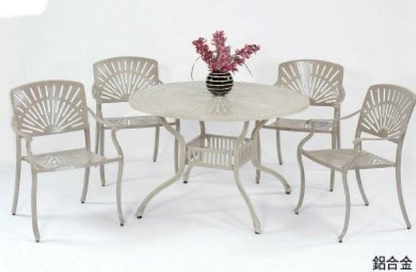 【南洋風休閒傢俱】戶外休閒桌椅系列-太陽扶手鋁合金桌椅組 戶外餐桌椅組 適餐廳 (#348 #20308)