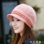 針織毛線帽毛女可愛百搭保暖彎簷堆堆帽 小艾時尚