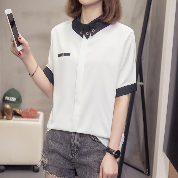 襯衫雪紡衫XL-4XL夏裝新款胖mm200斤大碼女裝寬松顯瘦短袖雪紡衫襯衫2248 5F026 依品國際