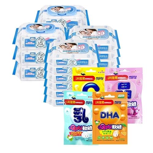 【奇買親子購物網】貝恩嬰兒保養柔濕巾80抽6入+20抽12入+小兒利撒爾健康補給站Q比軟糖1+1(隨機)