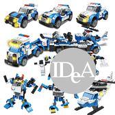 交通工具 警車積木 樂高 兒童玩具 益智 拼接 汽車  警車 火車 組合玩具 DIY