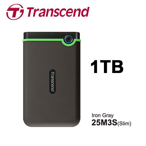 Transcend 創見 StoreJet 25M3S 極薄款 鐵灰 1TB 2.5吋 外接硬碟 TS1TSJ25M3S