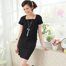 短裙--OL系美人黑色素面低腰膝上短窄裙(S-5L)-K08眼圈熊中大尺碼◎