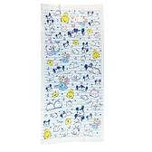 小禮堂 迪士尼 TsumTsum 純棉紗布浴巾 純棉浴巾 身體毛巾 60x120cm (藍 橫紋) 4550239-01429