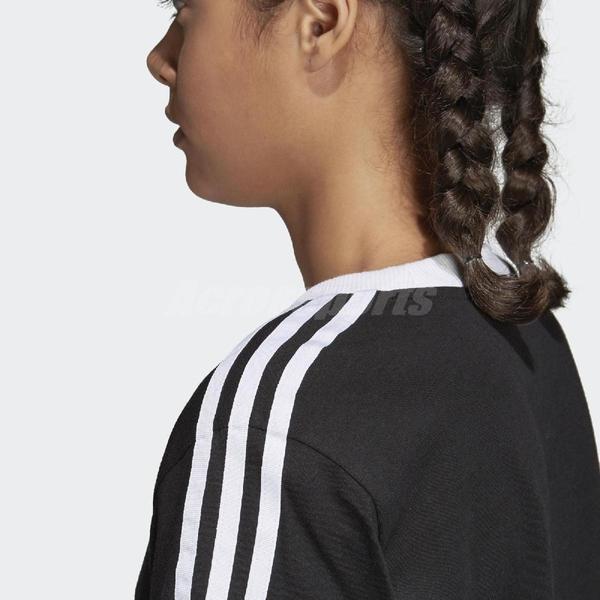 adidas 短袖T恤 3-Stripes Tee 黑 白 女款 三條線 三葉草 純棉 【PUMP306】 CY4751