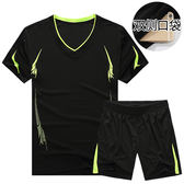 夏季運動套裝男士速幹健身短褲休閒兩件薄款運動衣服裝短袖跑步服糖糖日系森女屋