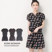 【KOMI】繽紛夏日花苞袖軟料洋裝  (1596-606078)