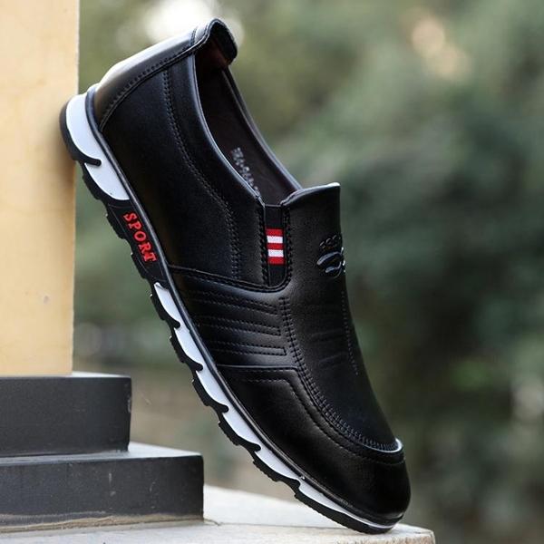 懶人鞋皮鞋男商務正裝鞋子男冬季新款男鞋懶人一腳蹬爸爸鞋男士休閒皮鞋 韓國時尚週