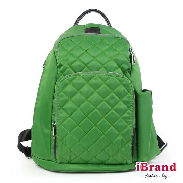 iBrand後背包 率性菱格紋後開式防盜尼龍後背包(M)-蘋果綠 HS-2003