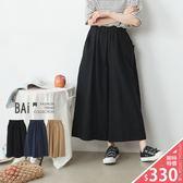 寬褲 不規則皺皺壓紋鬆緊寬管褲-BAi白媽媽【190017】