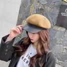 鴨舌帽 秋冬帽子女復古皮邊八角帽百搭文藝畫家帽街頭戶外個性保暖鴨舌帽