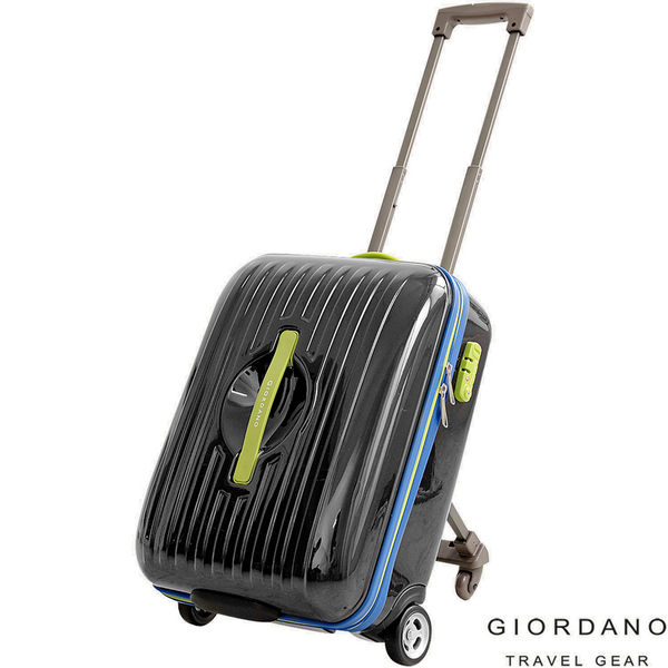 GIORDANO 20吋 自彈式輔助輪行李箱/登機箱(黑)