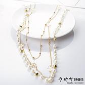 【Sayaka紗彌佳】日系典雅風格造型長鍊 -多層珍珠玫瑰花朵款