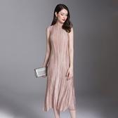 無袖洋裝-皺褶高彈力圓領時尚純色女連身裙4色73yf35【時尚巴黎】
